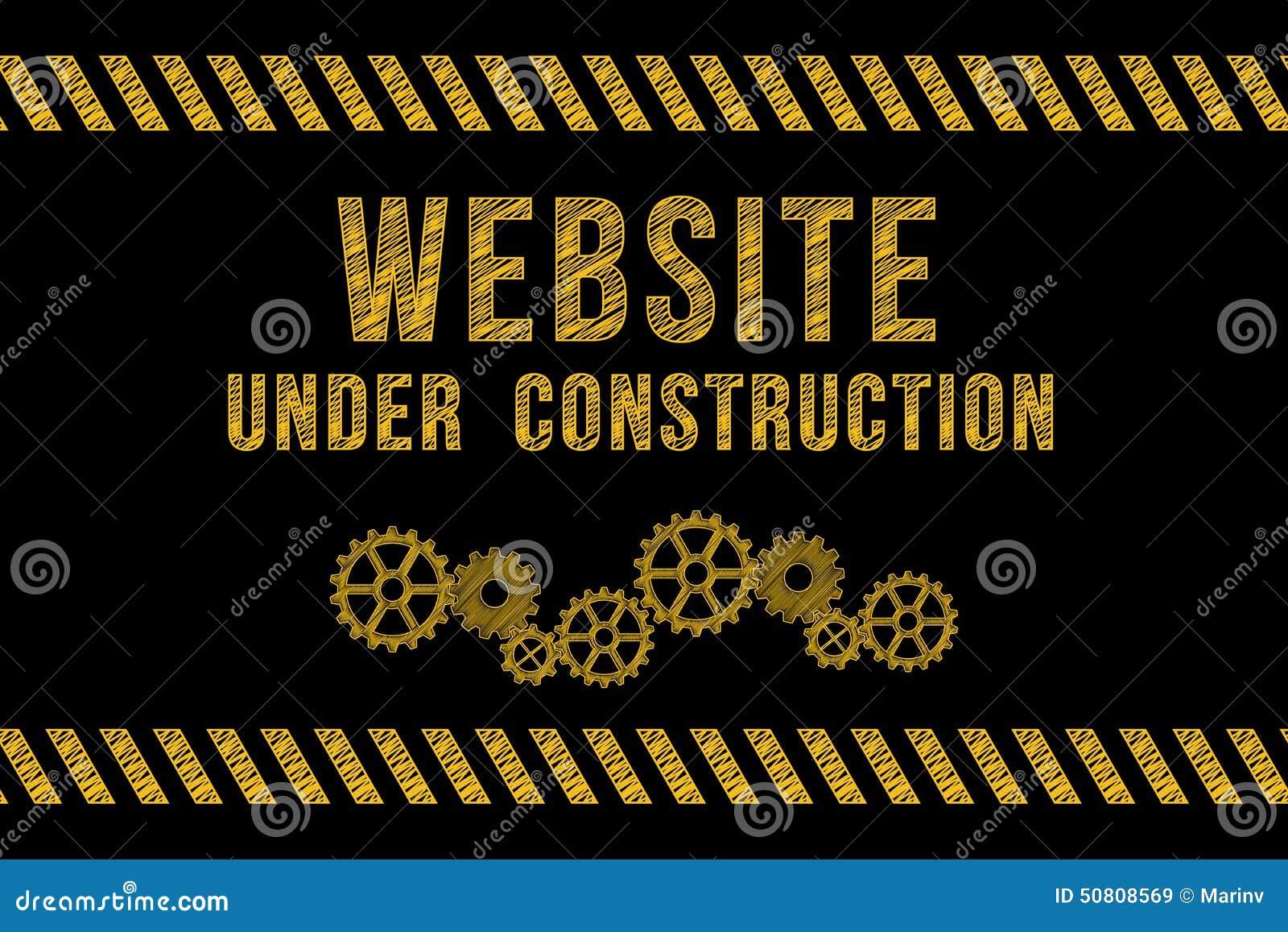 Website under konstruktionsvägmärke i guling