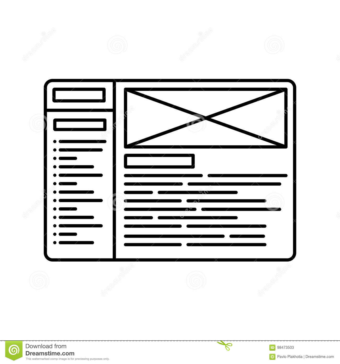 Website wireframe line icon. Outline illustration for website or logo design template