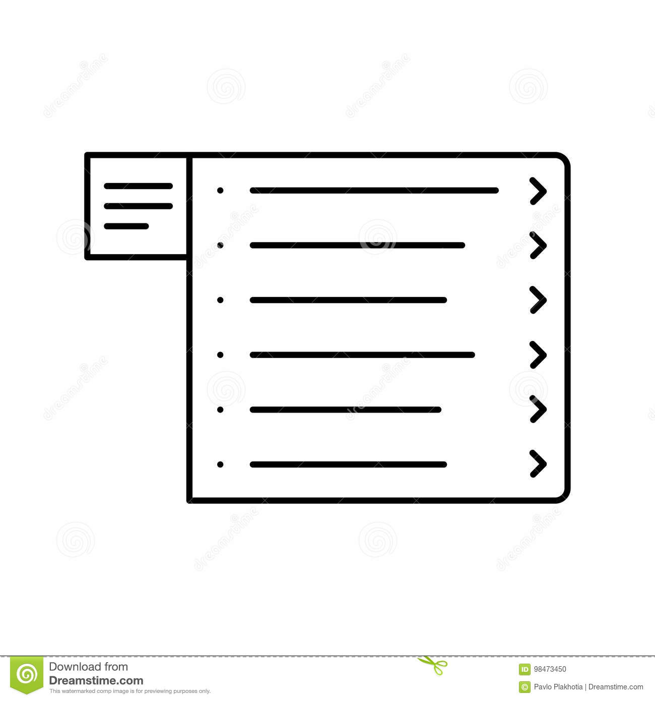 Website wireframe. Menu line icon. Web page user interface