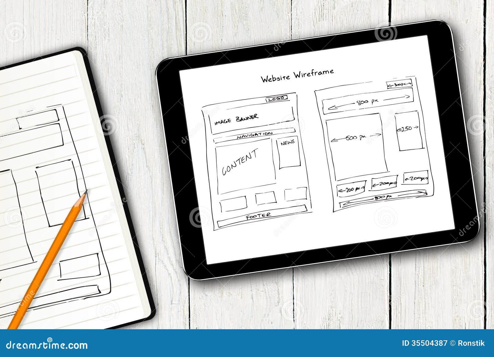 Website wireframe schets op het digitale tabletscherm