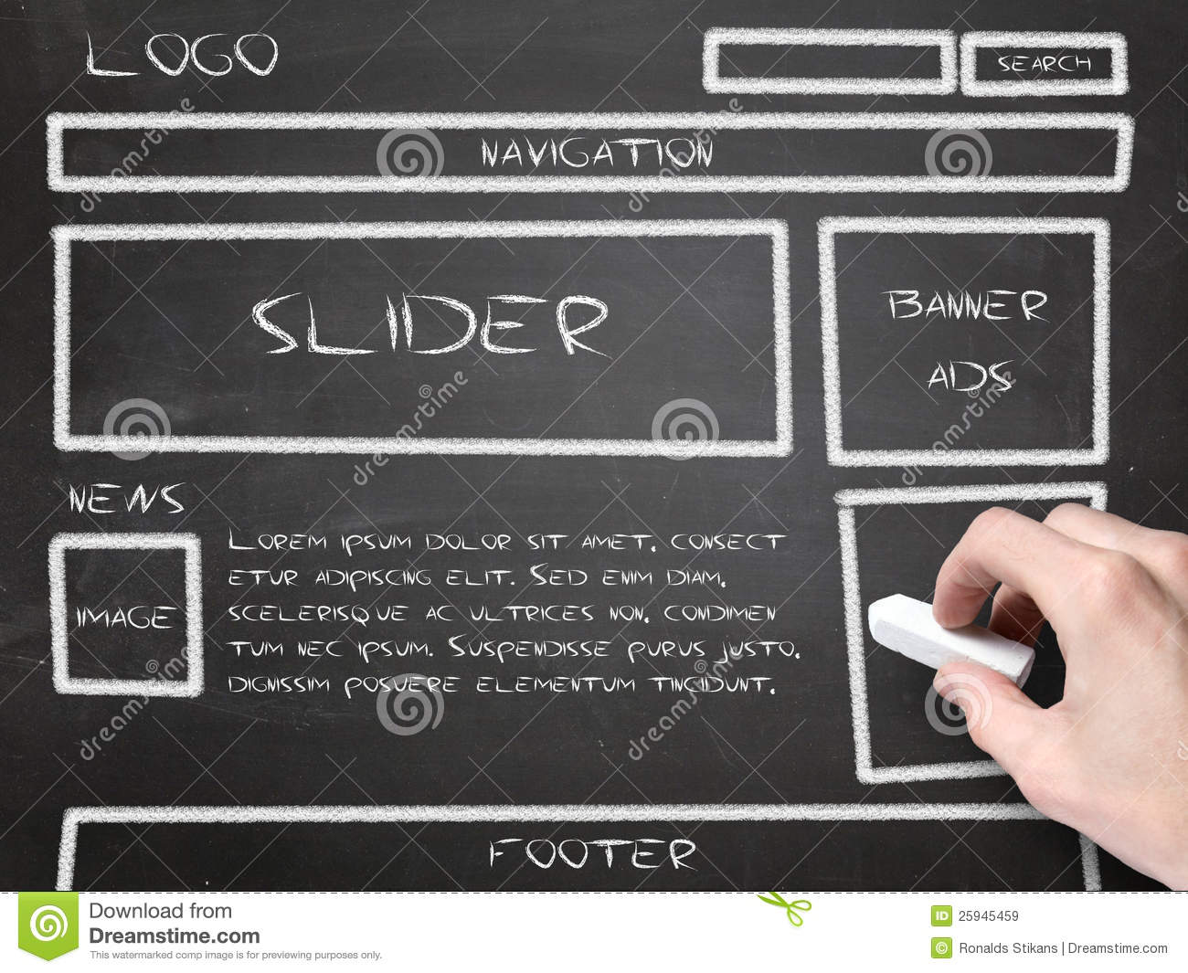 Website wireframe sketch stock image image of perspective for Free online drawing websites