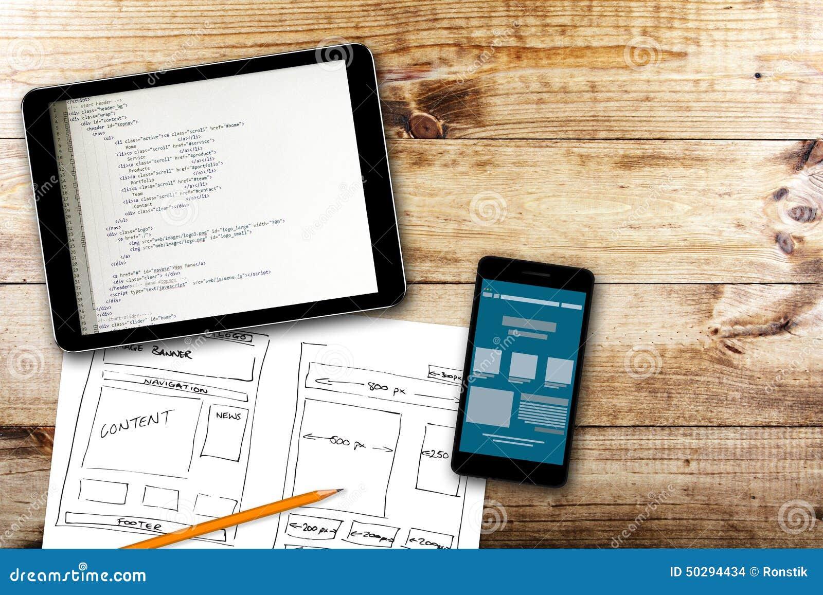 Website wireframe Skizze und Programmiercode auf digitaler Tablette