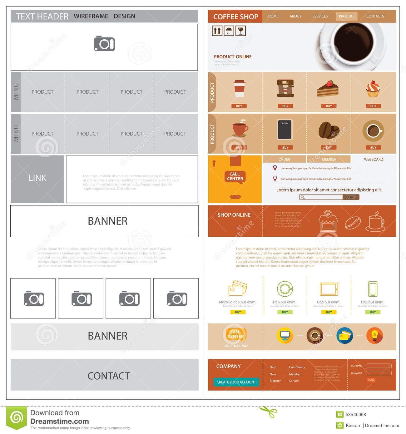 Website Wireframe Template And Mock Up Stock Vector - Image: 53540068