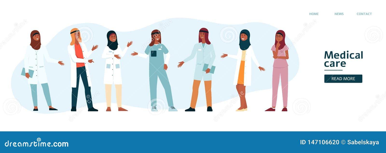 Websitemall med arabisk tecknad filmstil för medicinskt lag
