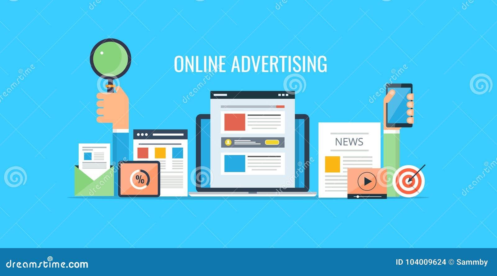 - Websitemarketing - den Handelsverkauf online annoncieren Flache Designwerbungsfahne