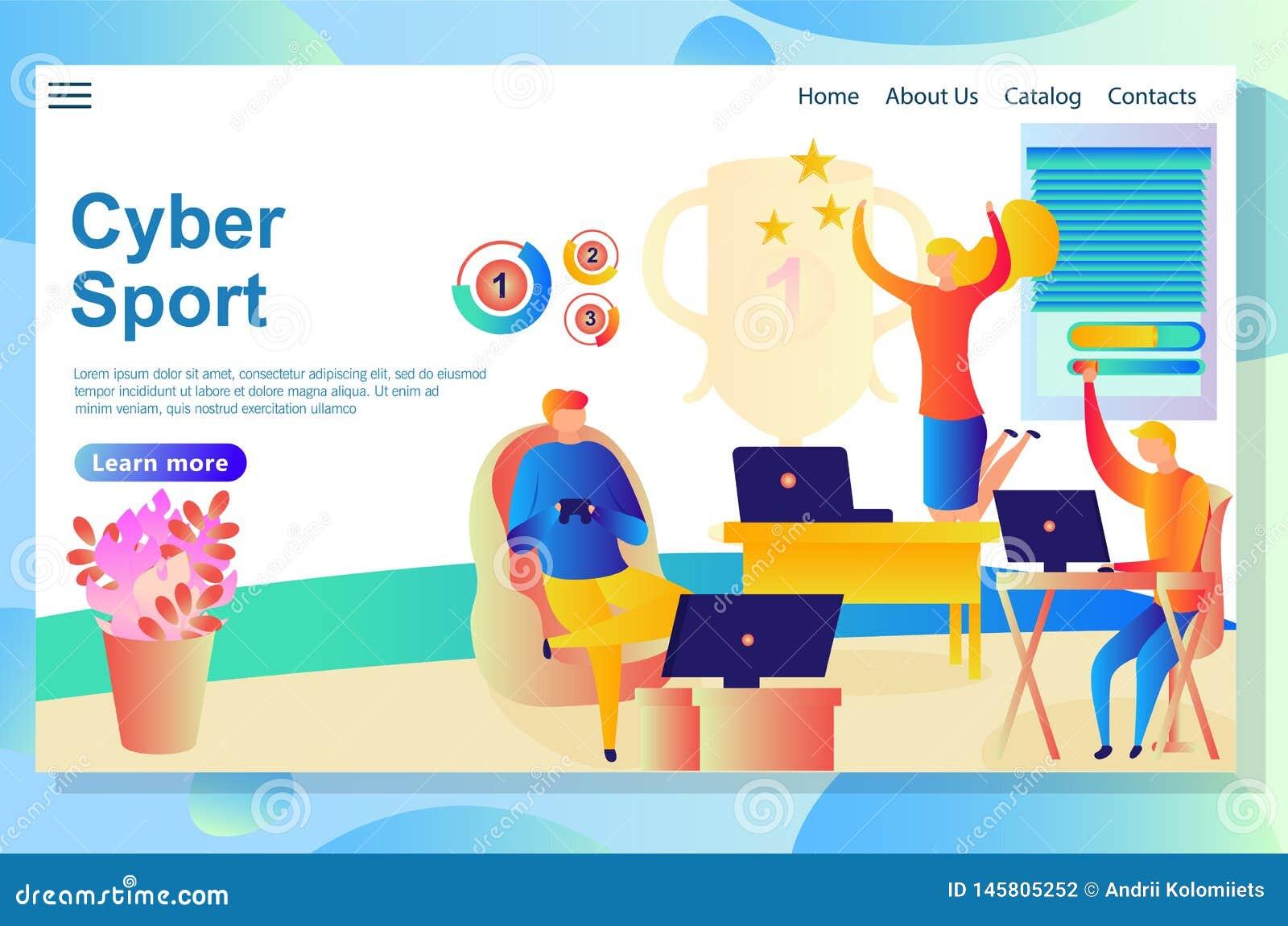 Websitepagina over cyberactiviteiten, mensen die en in sommige virtuele spelen concurreren winnen