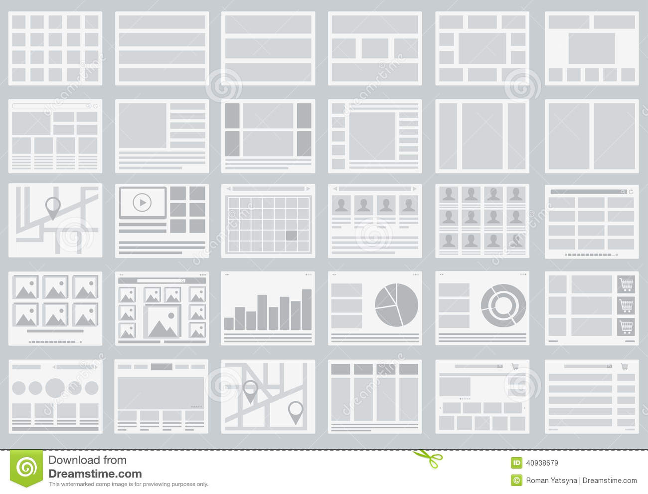 Websitestroomschema s, lay-outs van lusjes, infographics, kaarten