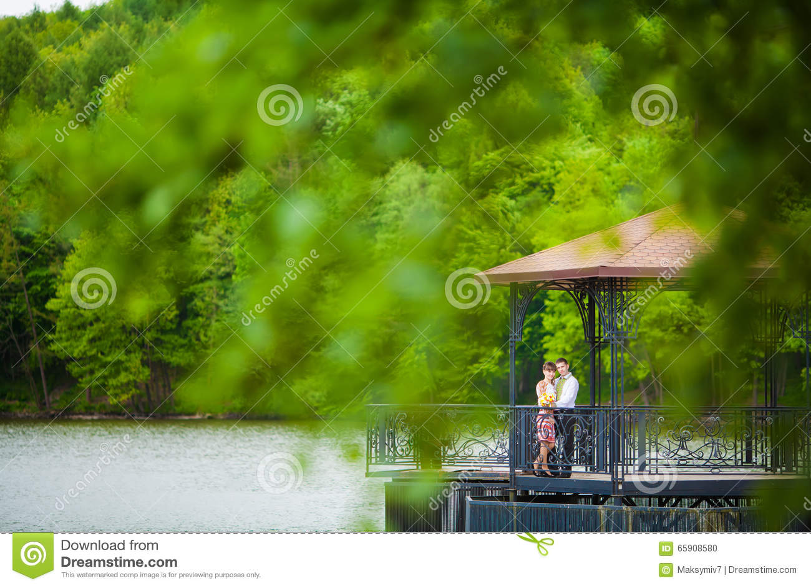 Wed recentemente os pares que abraçam ao lado de um lago