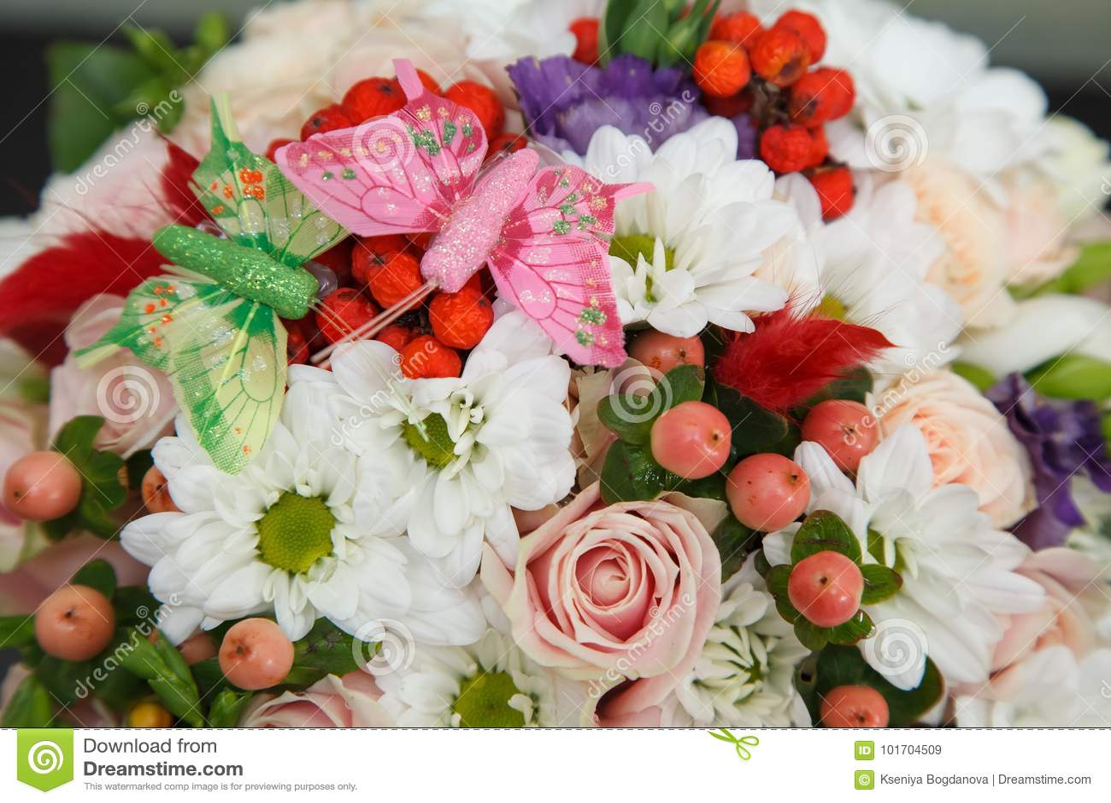 Flower Arrangement With Butterflies Stock Image Image Of
