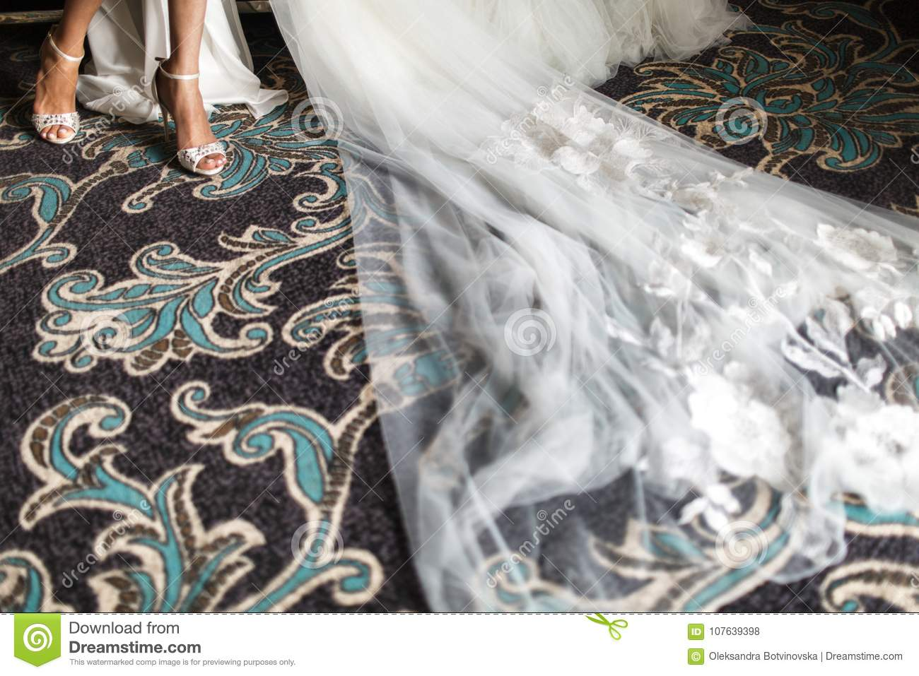 Close Up Bridal Shoes Legs Dress And Veil Best Accessories For