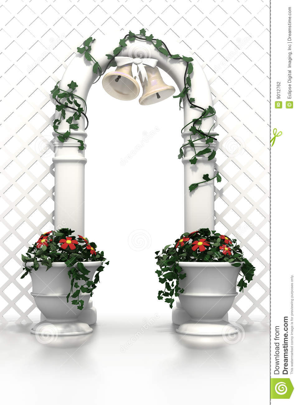 Wedding Arch With Bells And Flowers Stock Illustration