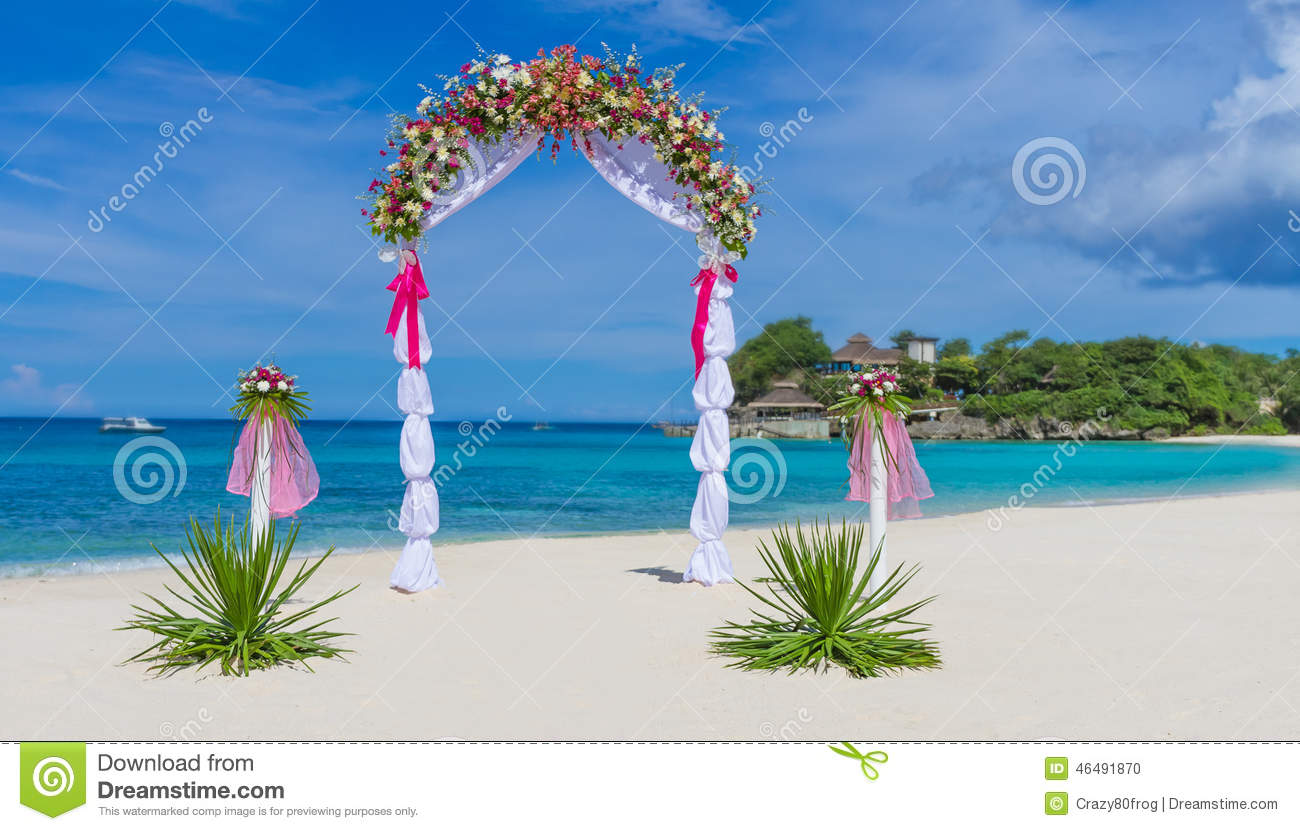 Wedding Arch Cabana Gazebo On Tropical Beach Stock Photo