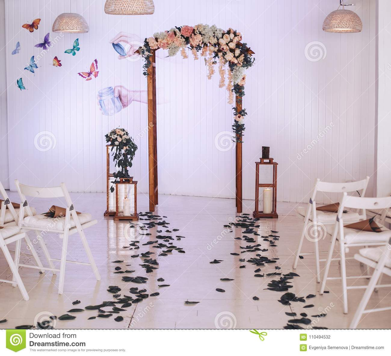 Wedding Arch Decorated With Flowers Large Candlesticks With Candles