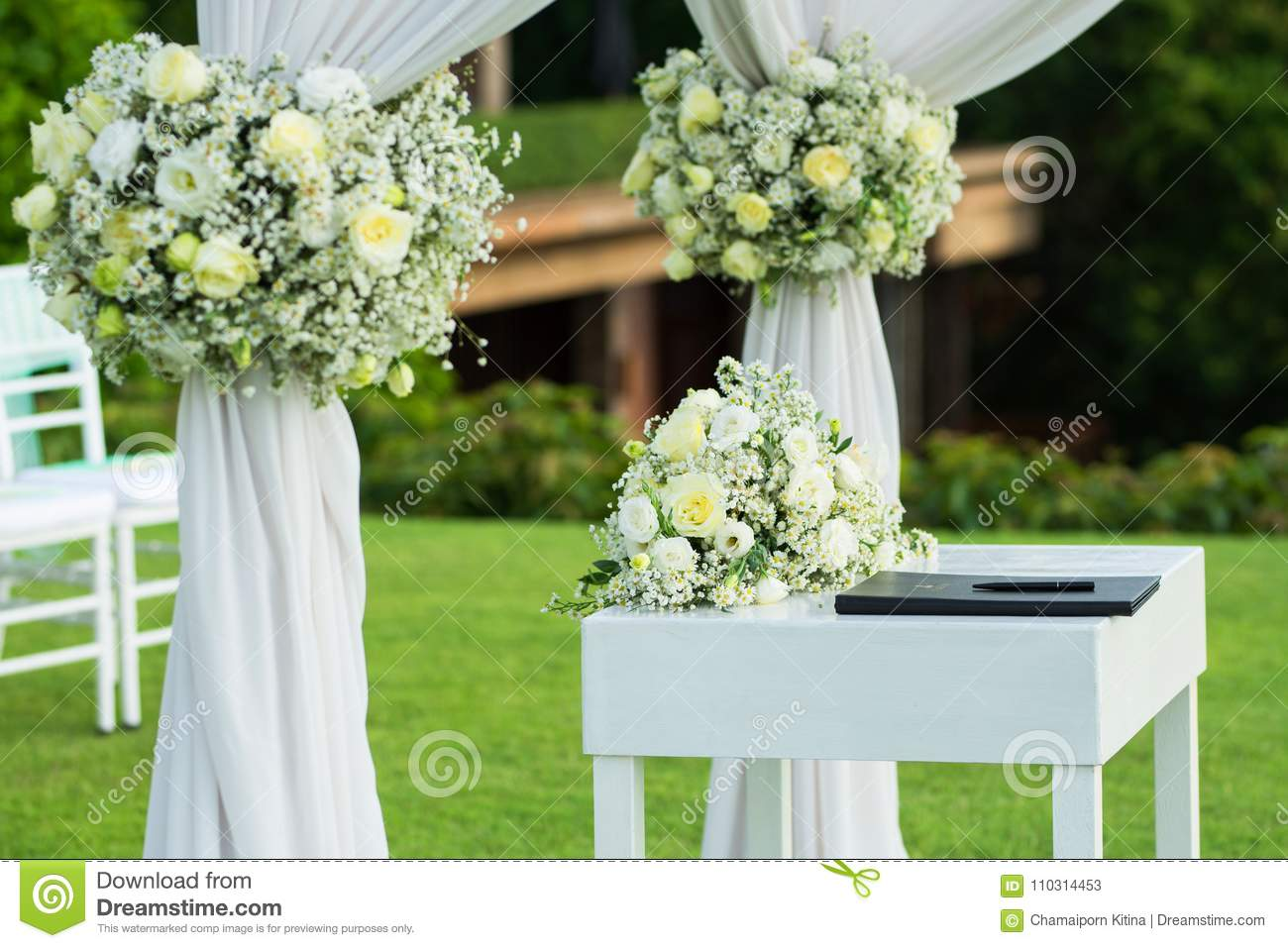 Wedding Arch Decorated With White And Green Flowers Outdoors Be