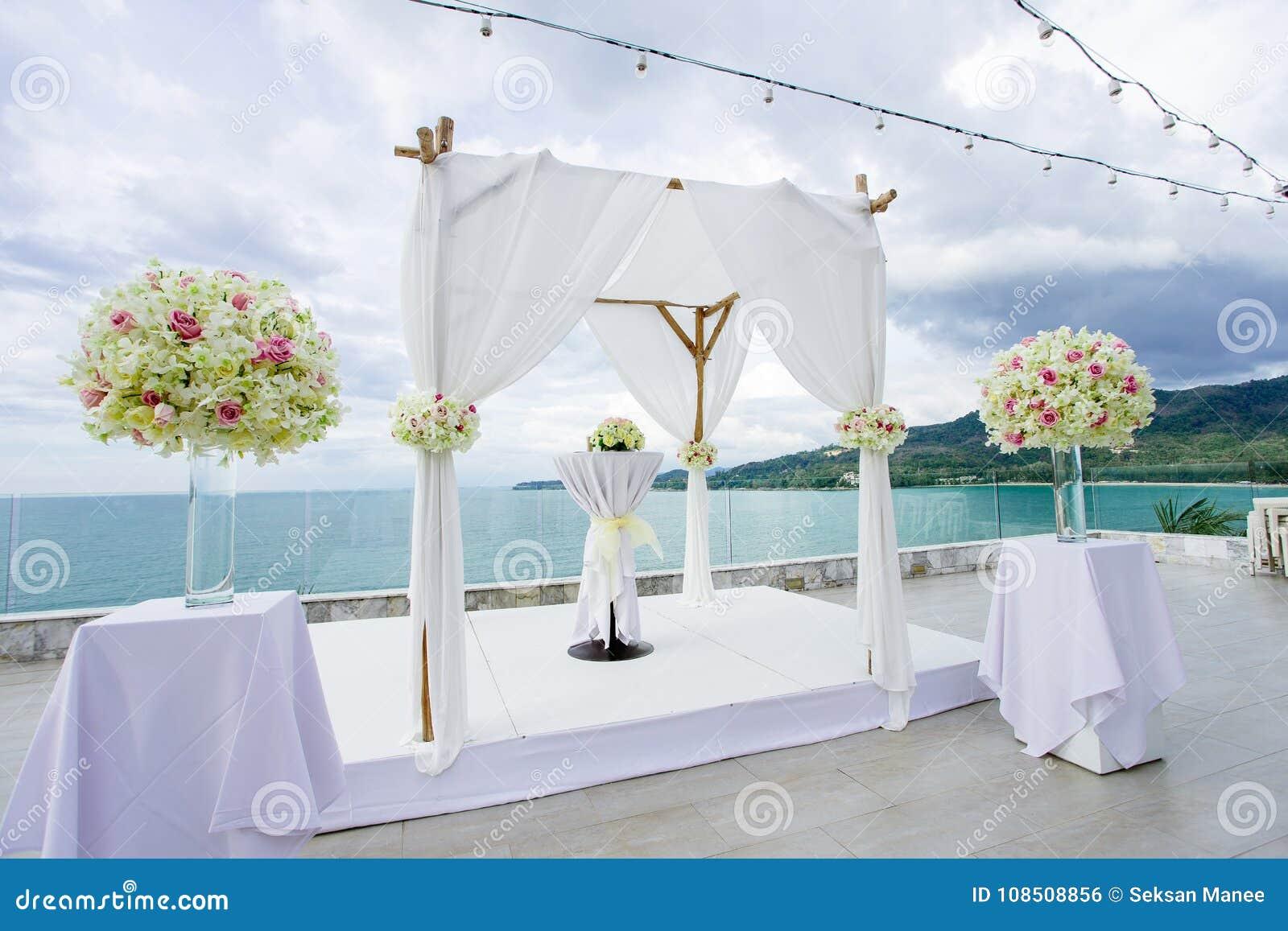 Wedding Arch Decoration, Flower, Floral, Beach Wedding Venue Stock ...