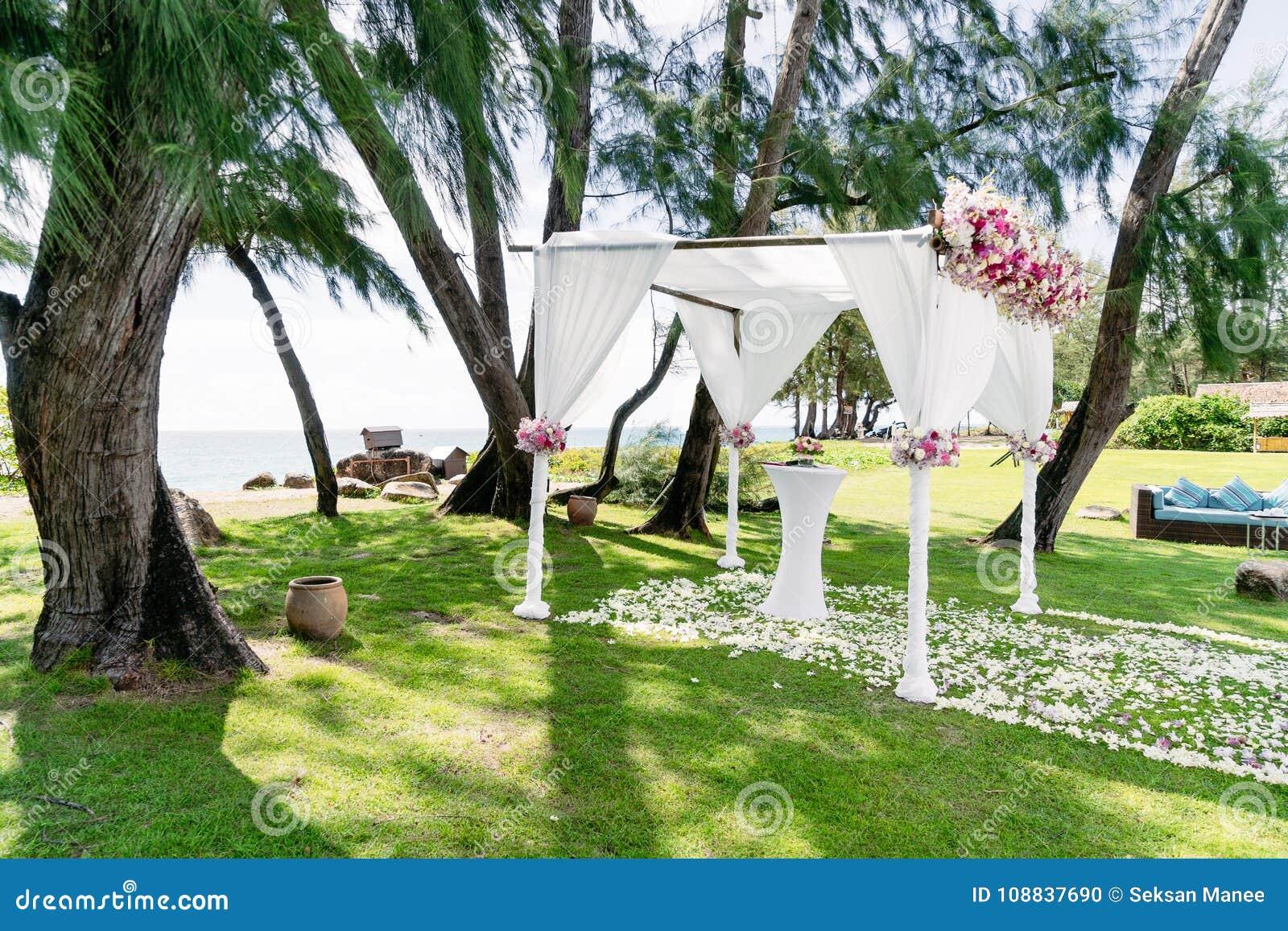 Wedding Arch Decoration Flower Floral Wedding Venue Pine Tree Ocean View Stock Photo Image Of Bouquet Ocean 108837690