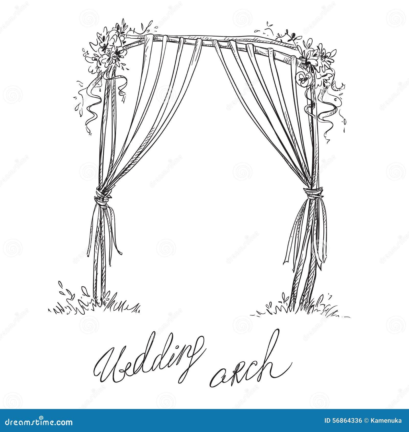 Wedding Altar Cartoon: Wedding Arch. Decoration. Vector Sketch Stock Vector