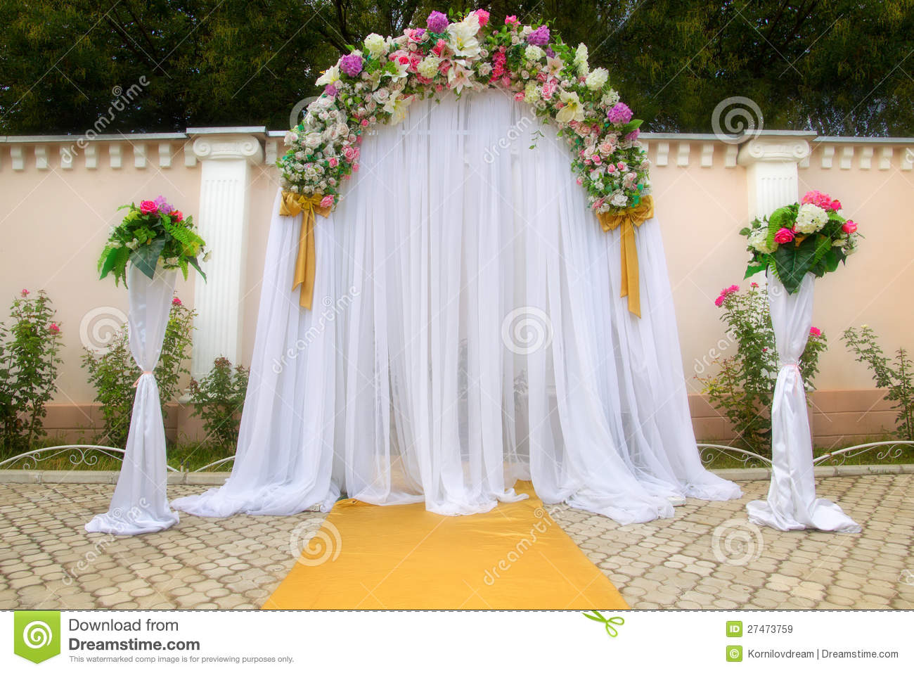 Wedding arch with flowers stock image image of flowers for Archway decoration ideas