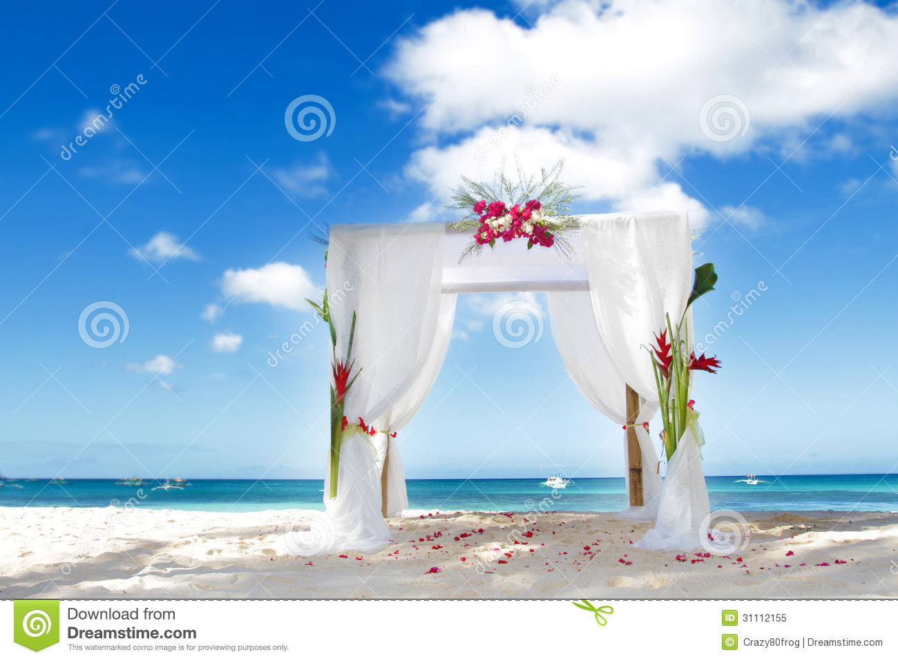 Wedding Arch With Flowers On Beach Royalty Free Stock Photo