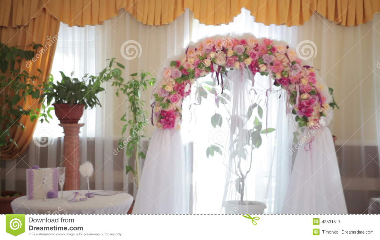 Wedding Arch With Flowers Indoor Stock Video Video Of Marriage