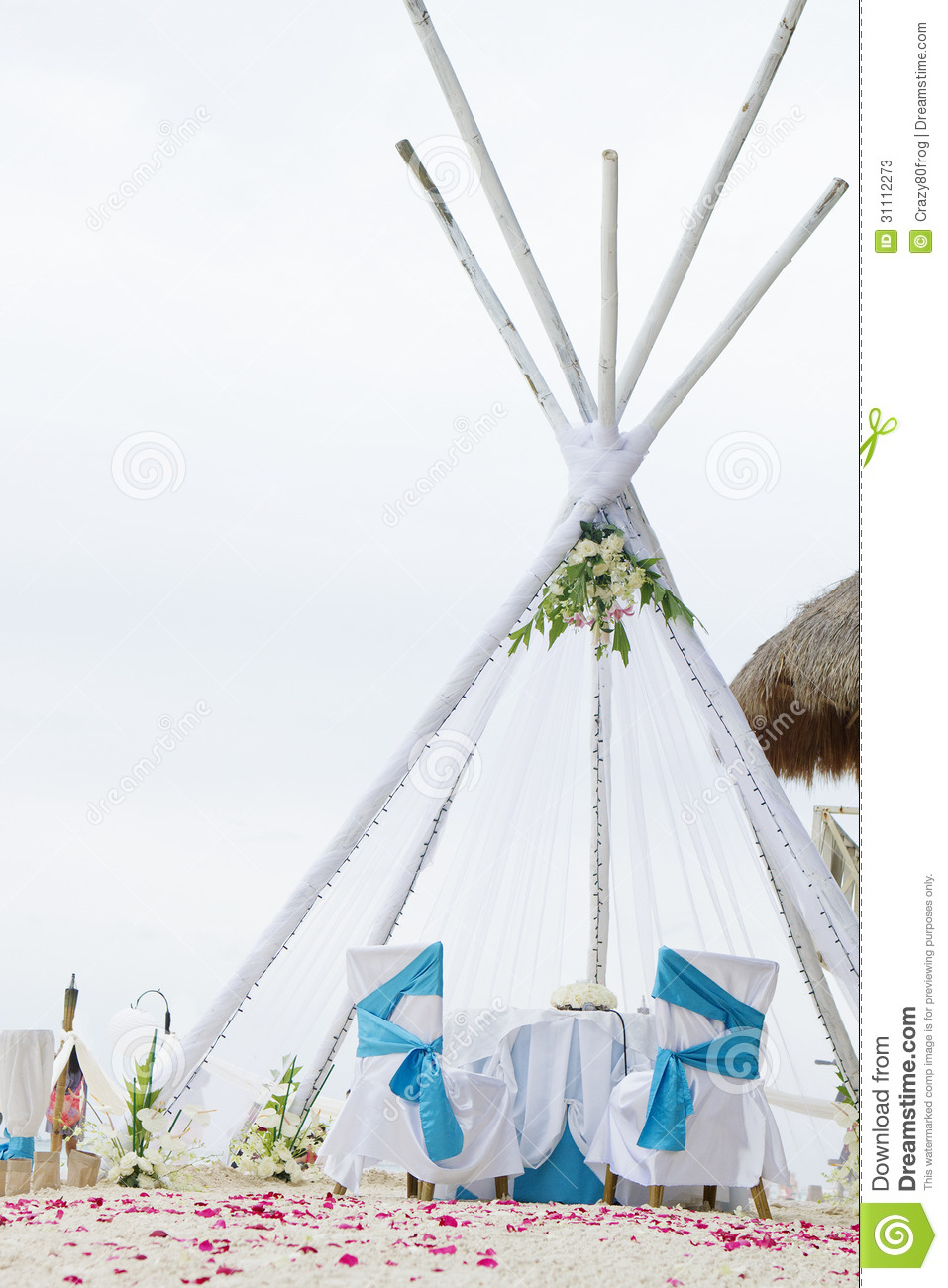 Wedding Arch Table And Set Up On Beach Stock Image