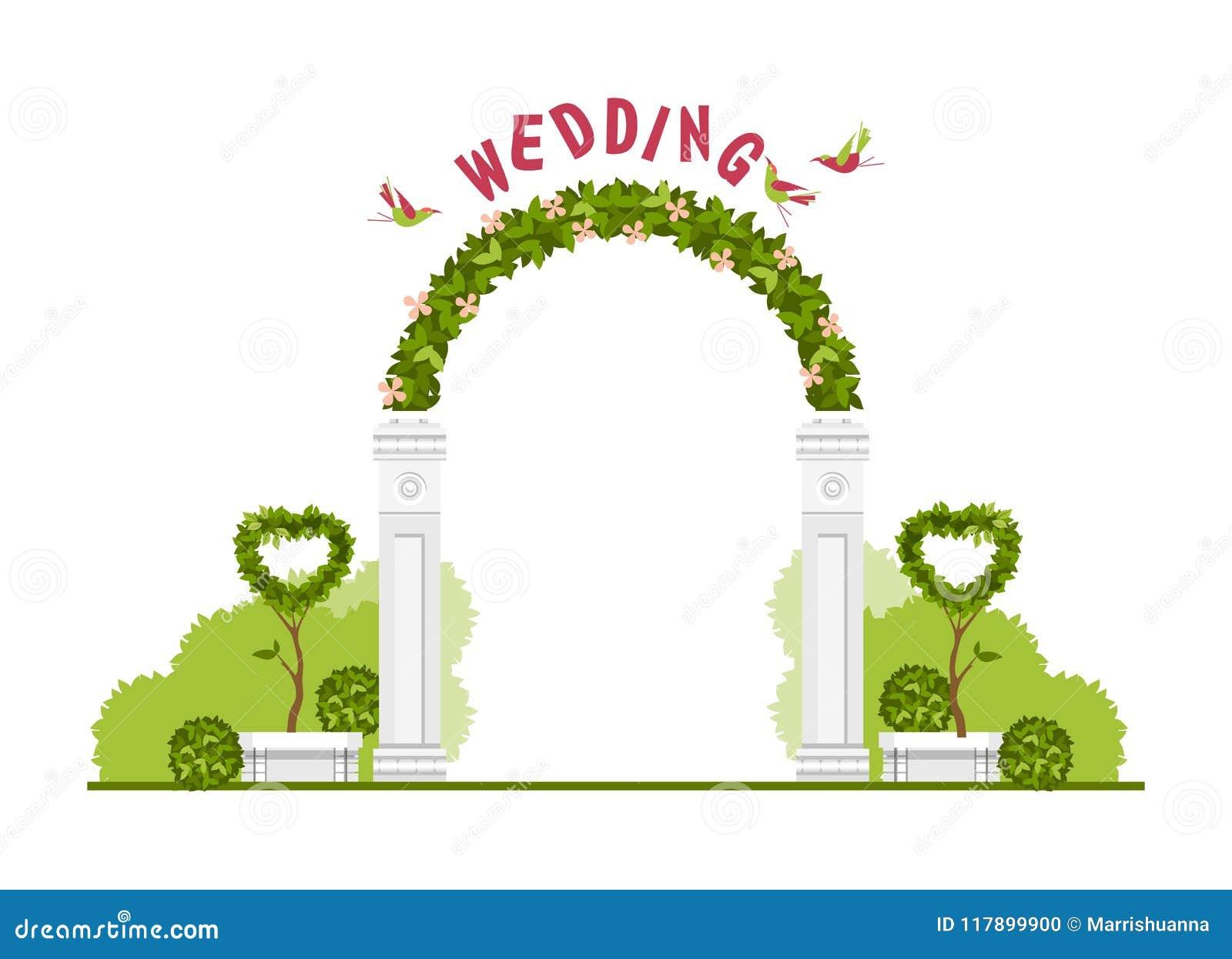 Wedding Arch Vector Stock Vector Illustration Of Grass 117899900
