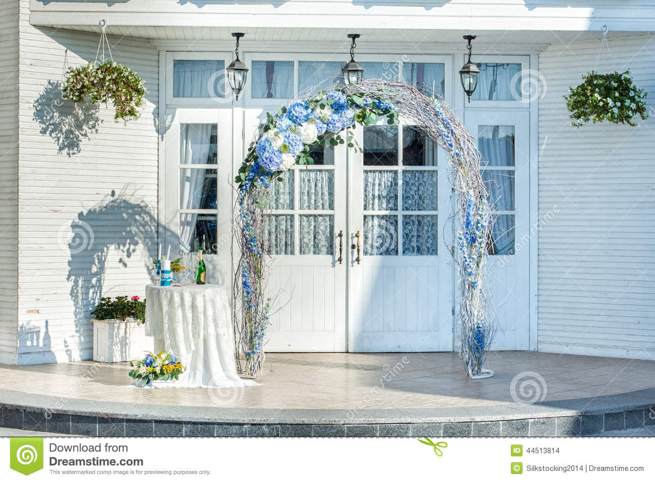 Wedding Arch Of Vines With Flowers Stock Photo - Image of light ...