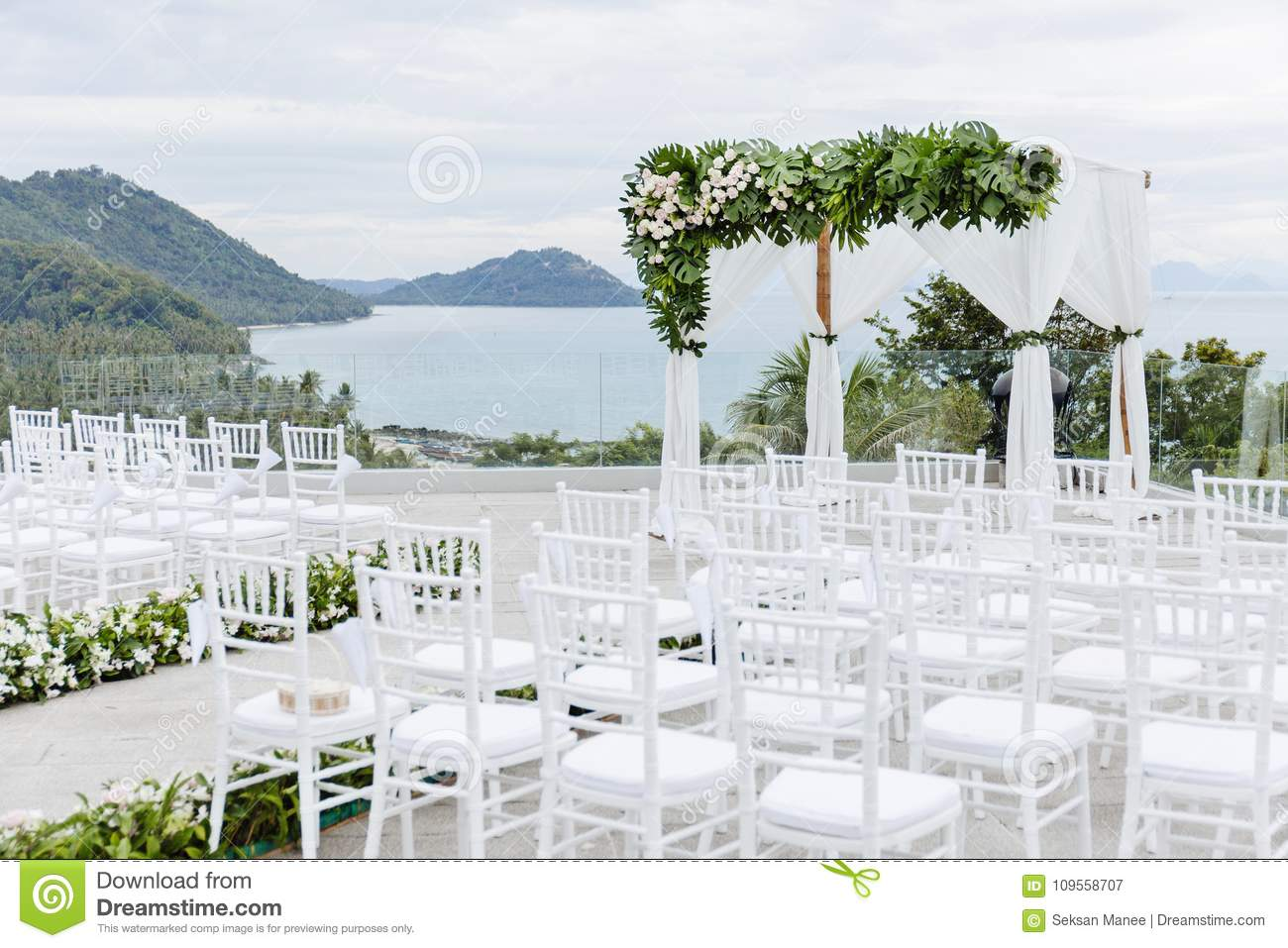 Wedding Arches Colorful Flowers Floral Decoration Pine Tree Sea Background Stock Image Image Of Decorate Marriage 109558707