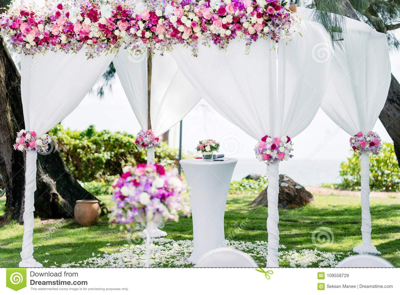 Wedding Arches Colorful Flowers Floral Decoration Pine Tree Sea Background Stock Image Image Of Arches Aisle 109558729