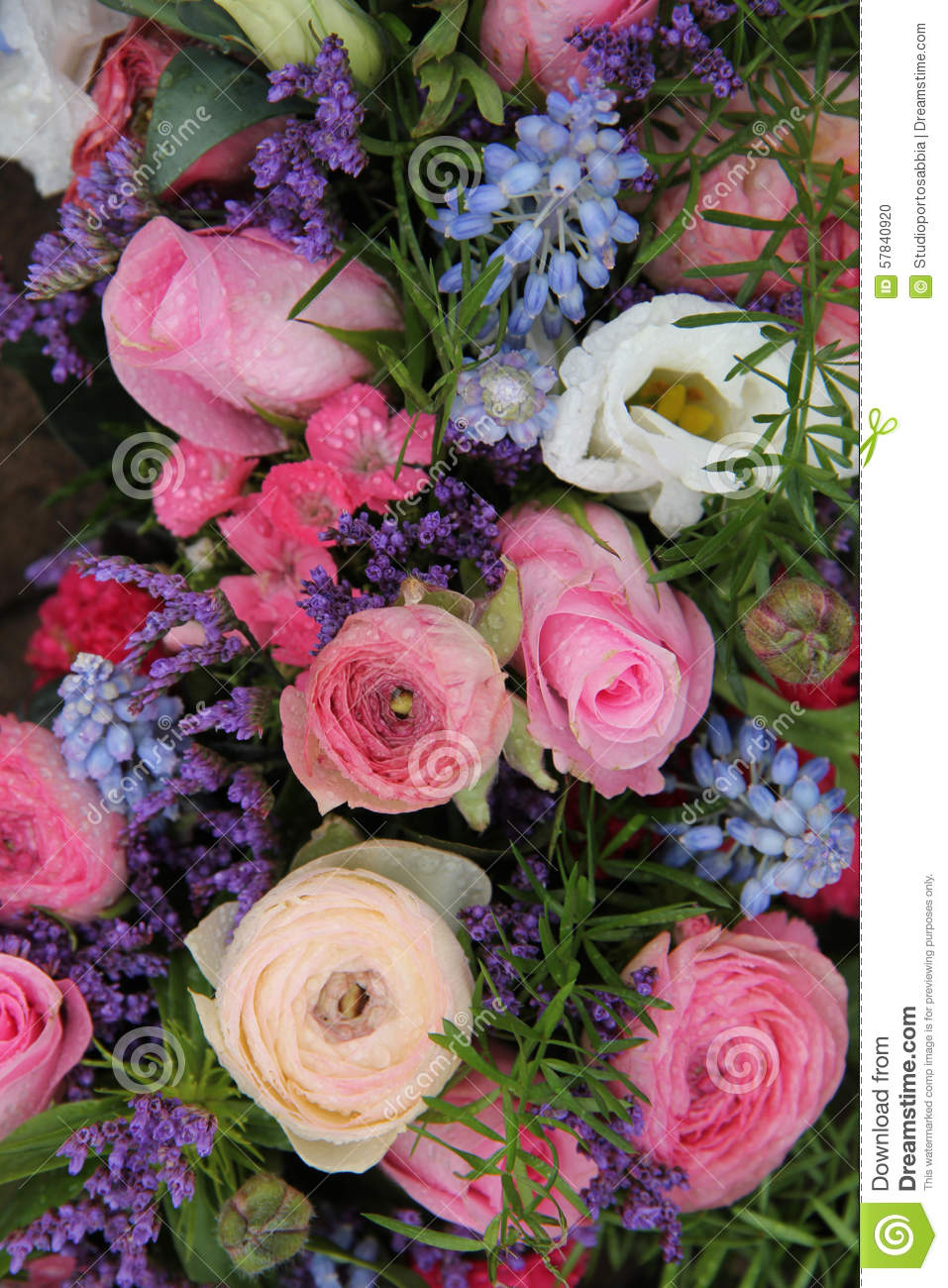 Wedding Arrangement In Blue And Pink Stock Photo Image Of Nature