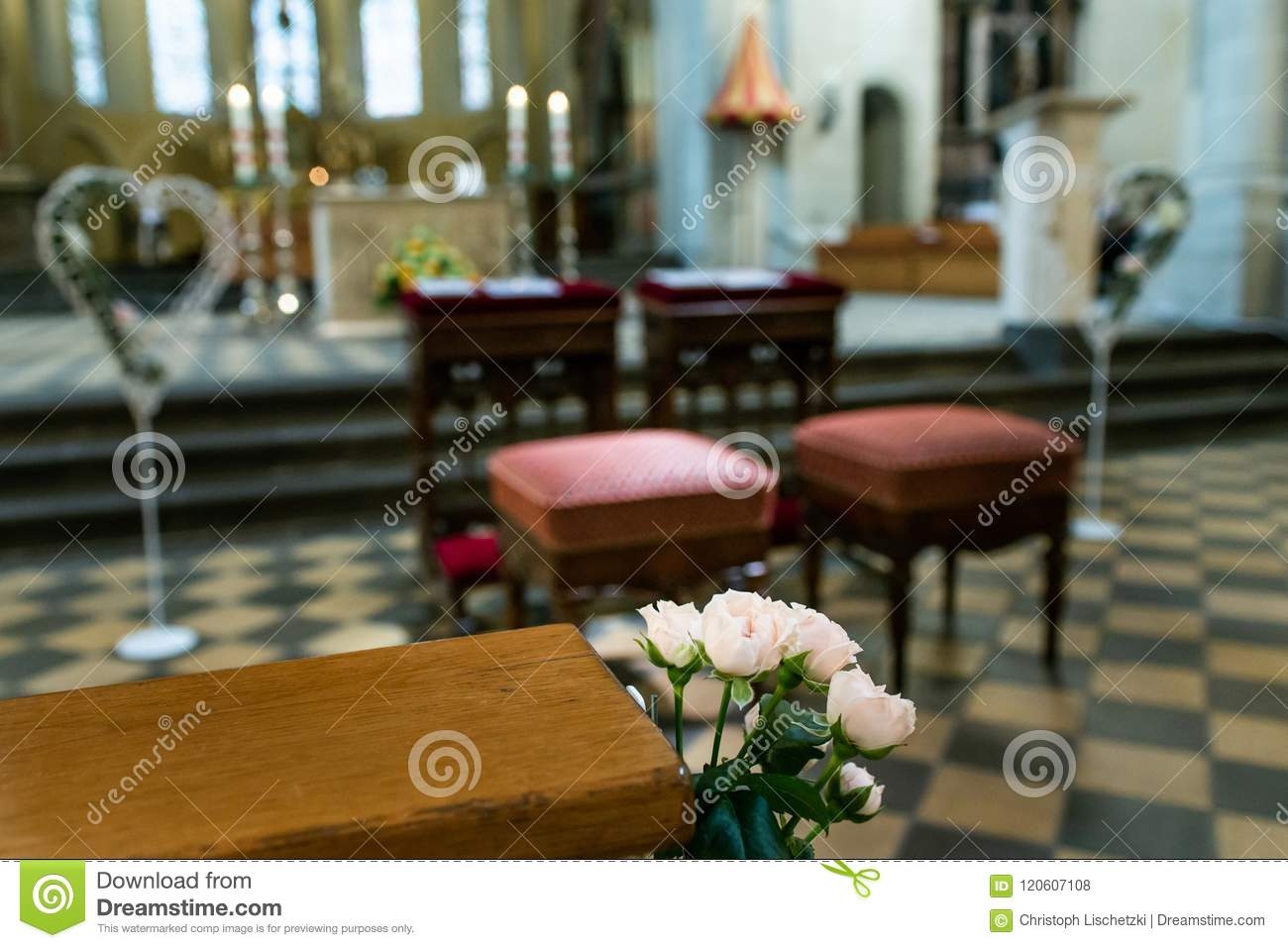 Wedding Arrangement Chairs Inside The Basilica Of St. Castor Oldest ...