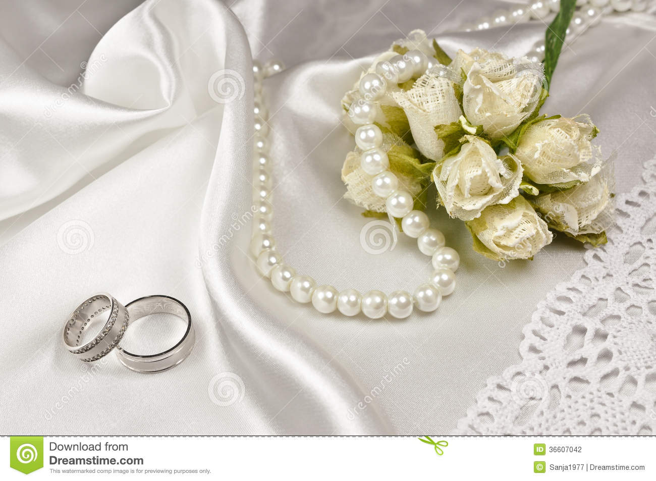 Wedding accessories pearls flowers pearls - Royalty Free Stock Photo
