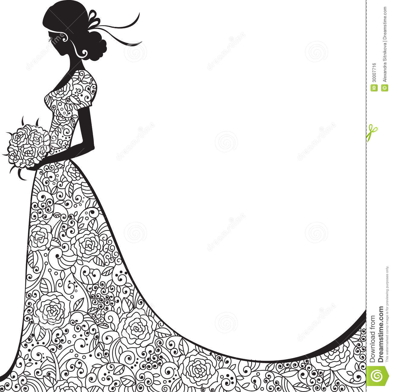 Wedding Hair Style Black Vector Art: Elegant Silhouette Of The Bride Stock Vector
