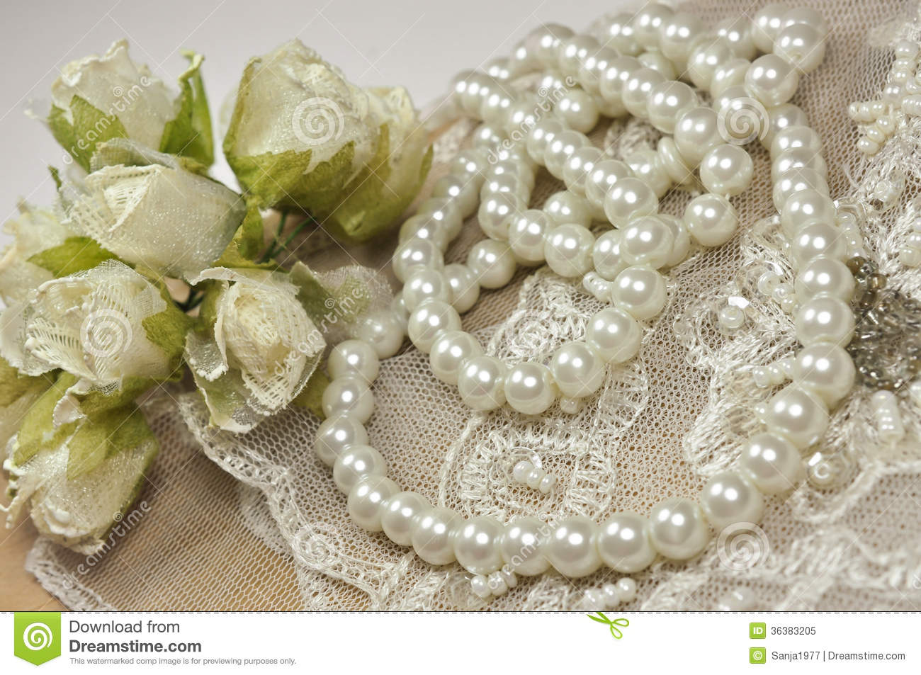 Wedding Background With Decoration Accessories, Lace And Pearls