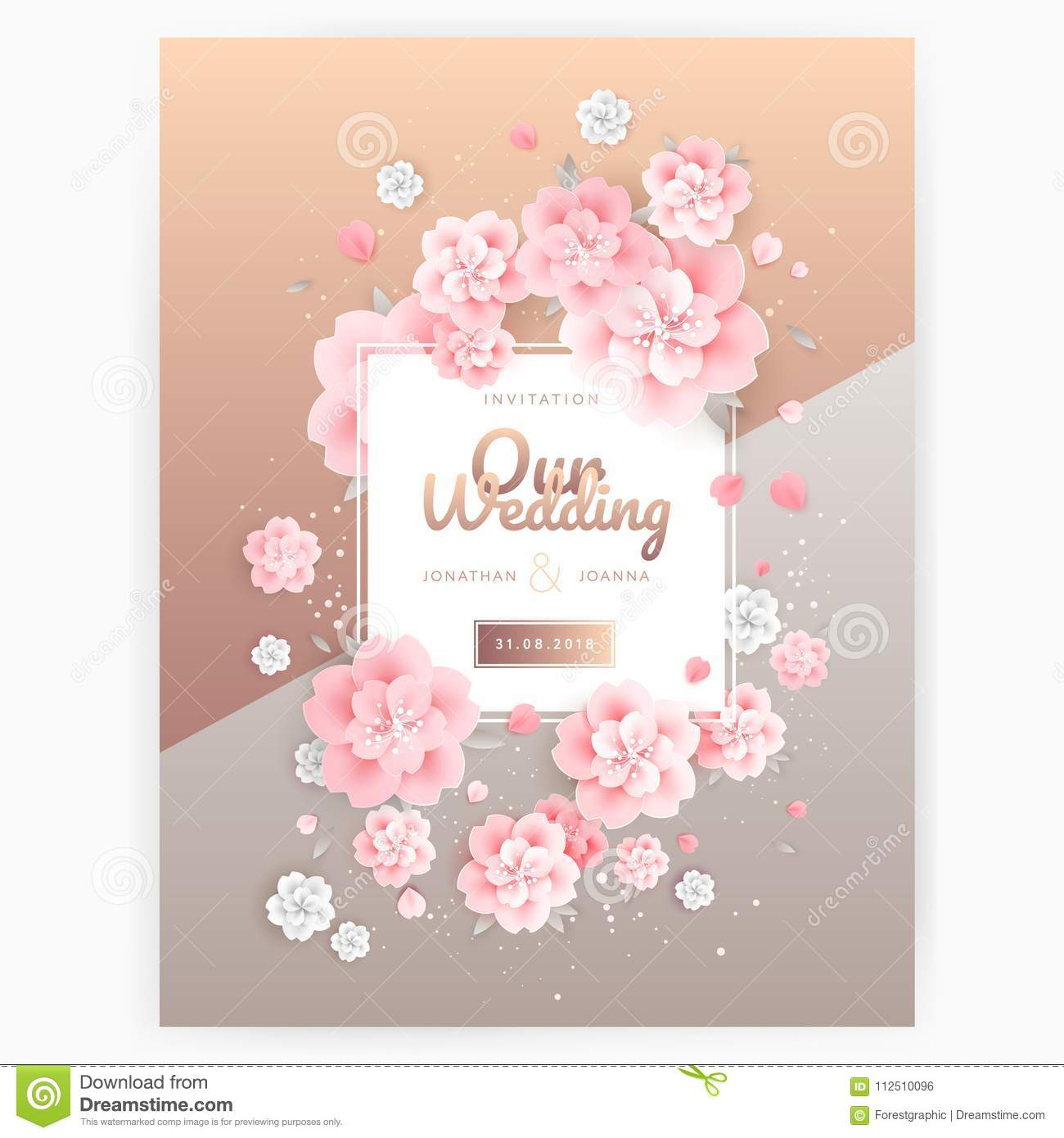 Wedding Background Invitation Card Template  Pink Roses On Gold