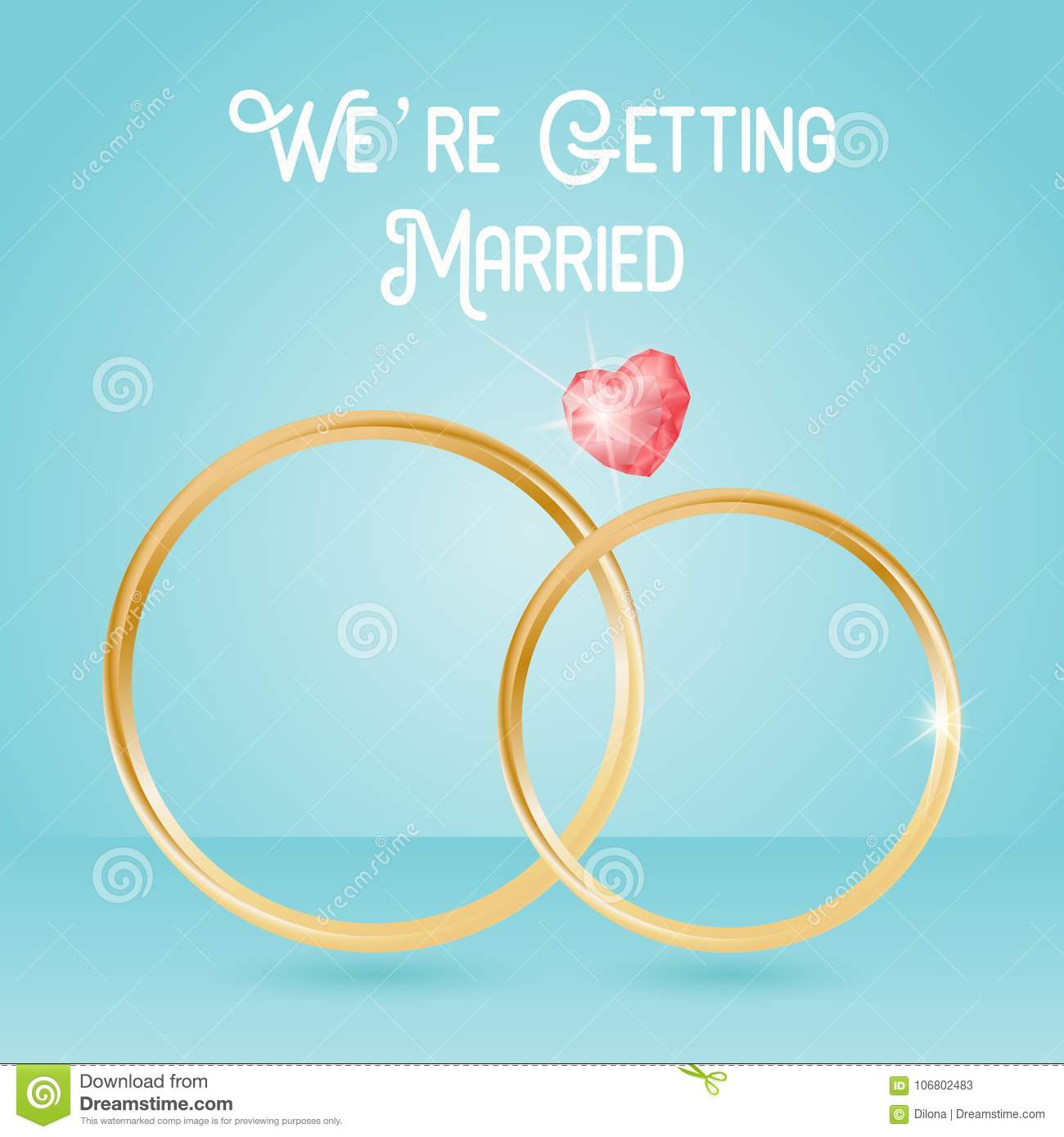 Wedding Background With Rings And Gemstone Quote Lettering We Are Getting Married Stock Illustration Illustration Of Font Husband 106802483