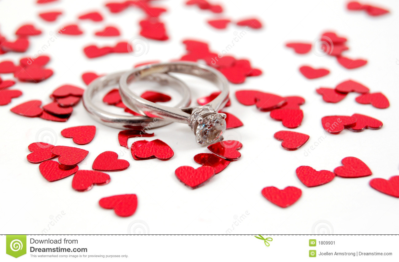 Wedding Bands And Hearts Stock Image - Image: 1809901
