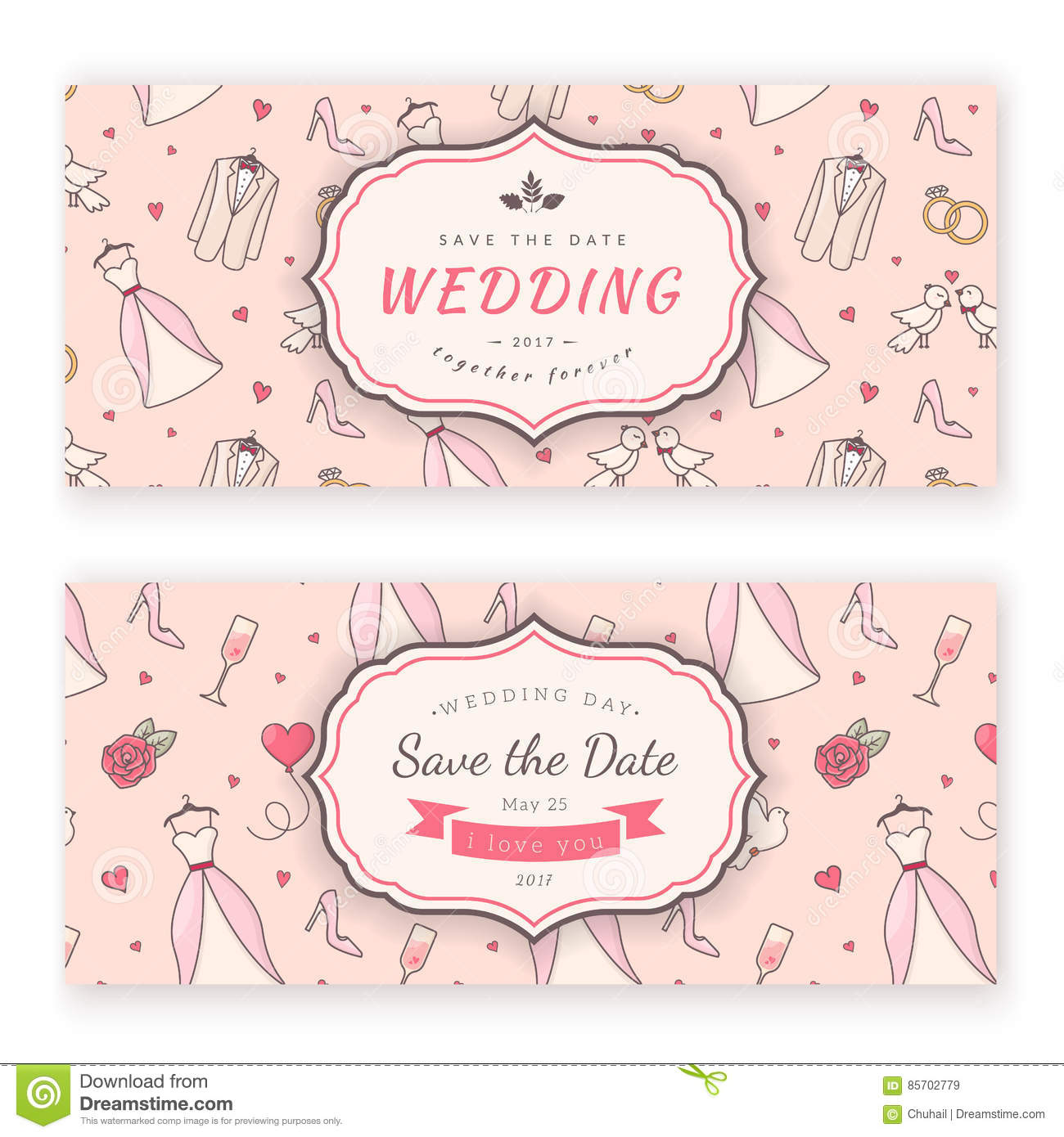 Wedding banner template. stock vector. Illustration of passion ...