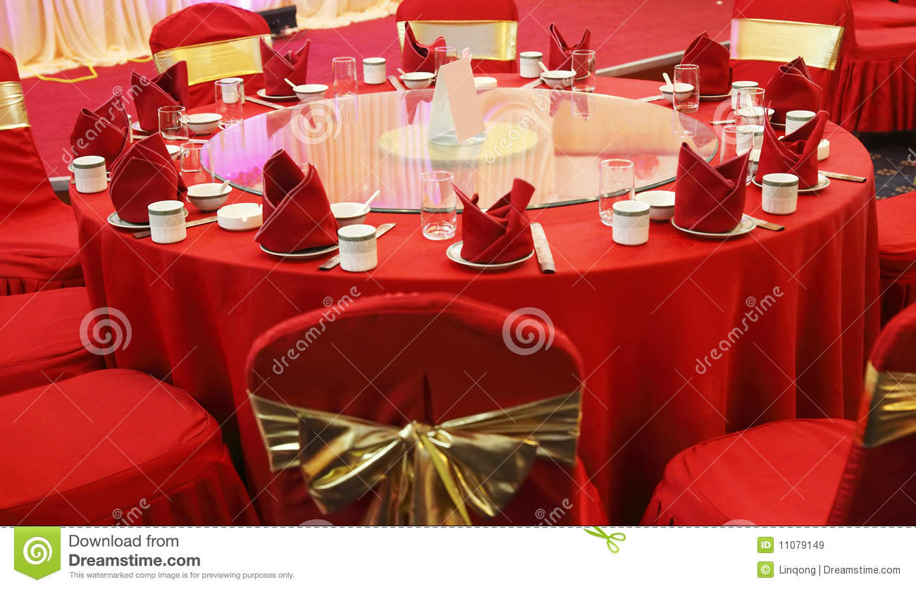 Chinese table setting - Wedding Banquet Table Setting Royalty Free Stock Images