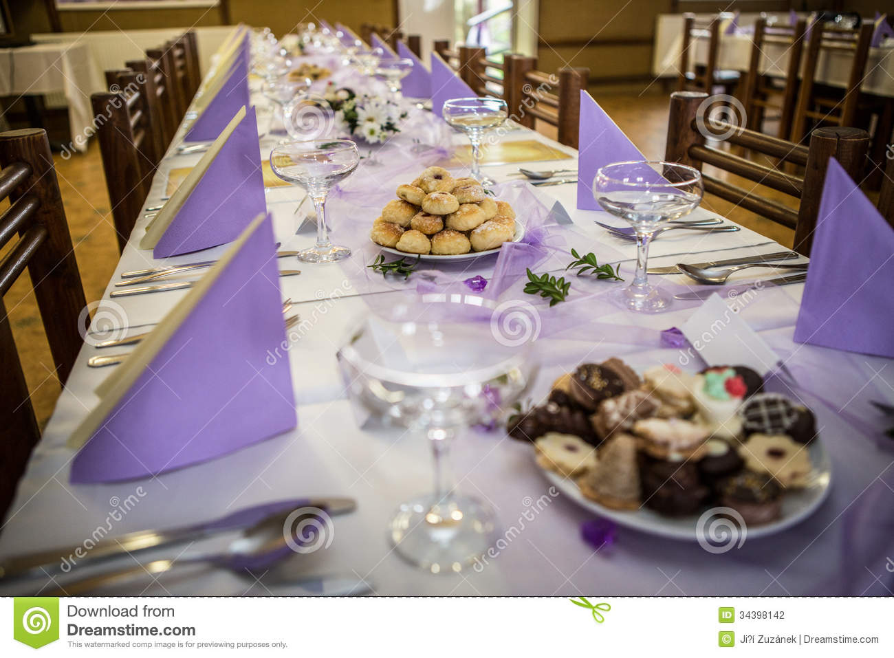 Wedding Banquet Table Setting Royalty Free Stock