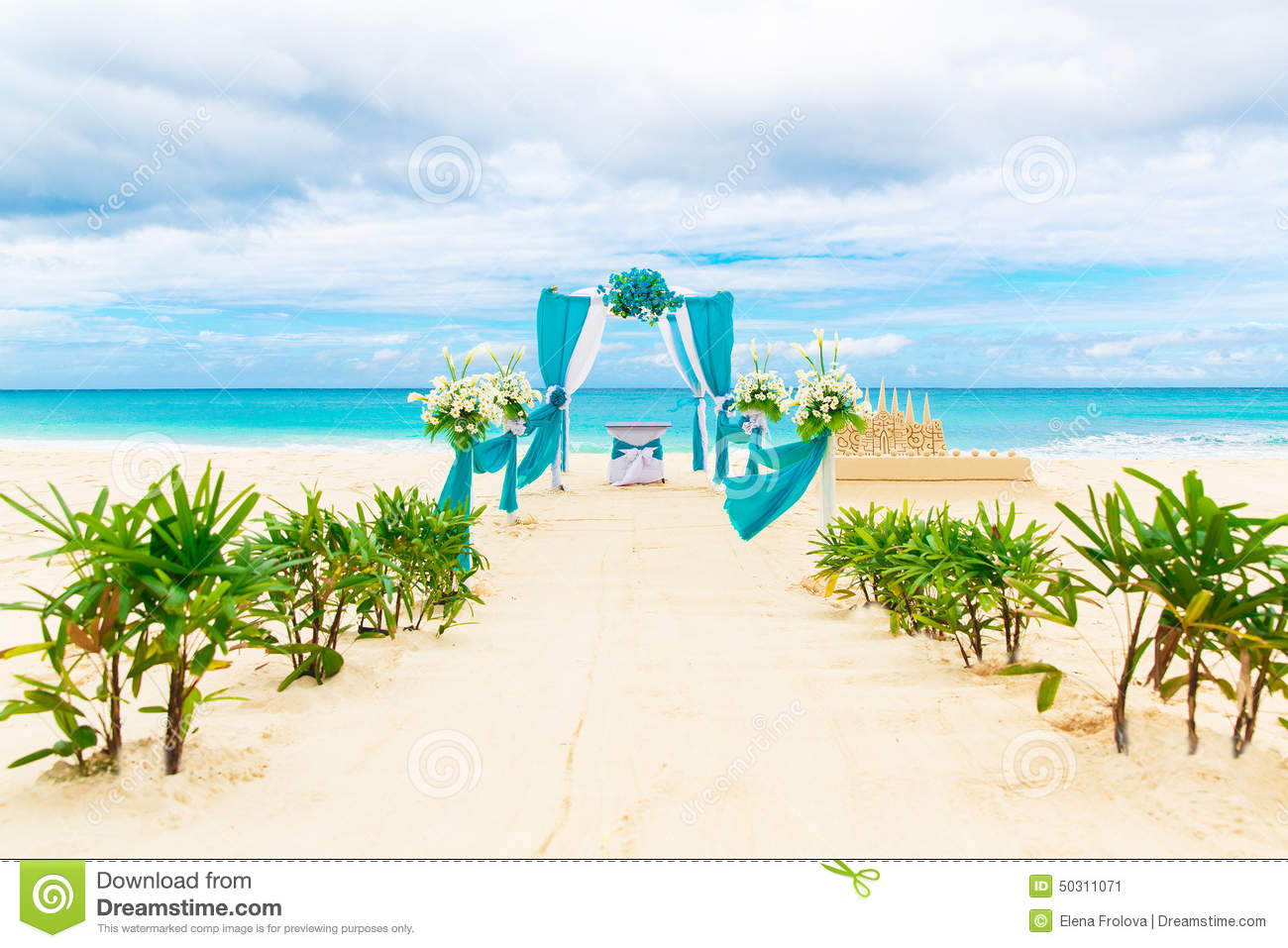 Wedding on the beach - Wedding On The Beach Wedding Arch Decorated With Flowers On Tr Stock Image