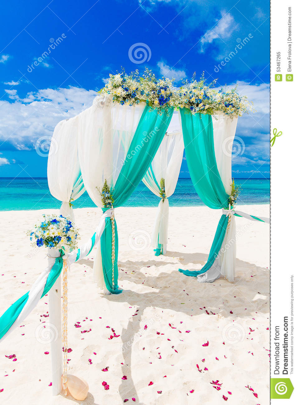 Wedding On The Beach Wedding Arch Decorated With Flowers On Tr
