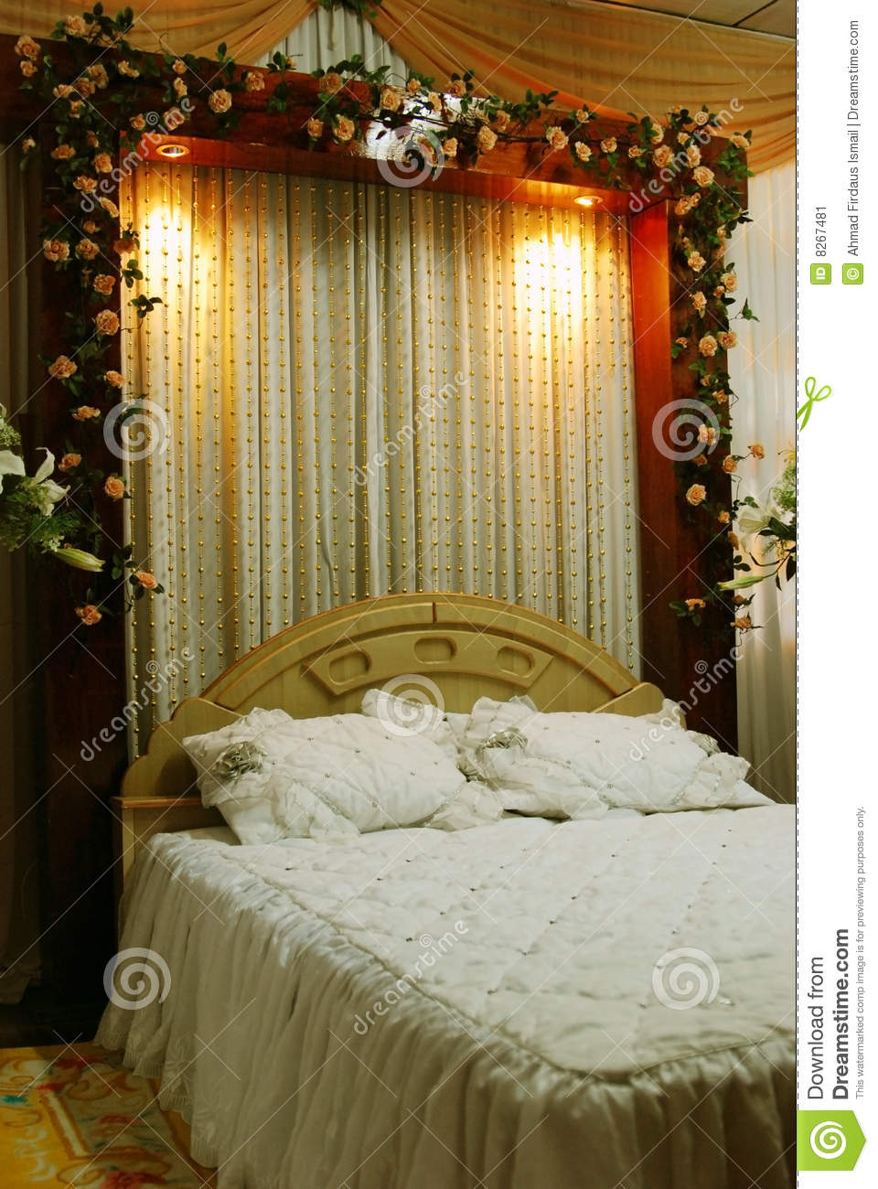 Wedding Bed Decoration. Wedding Bed Decoration stock image  Image of banquet  environment