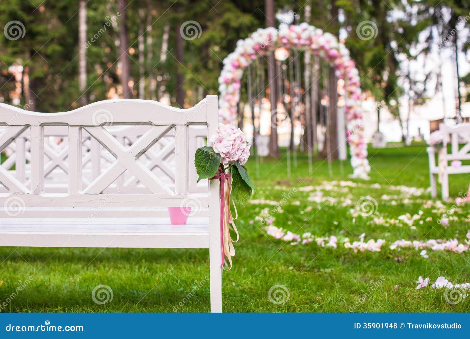 Wedding Ceremony Ideas Flower Covered Wedding Arch: Wedding Benches And Flower Arch For Ceremony Stock Photo