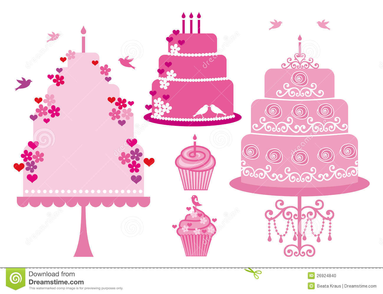 Wedding And Birthday Cakes Vector Stock Photo Image 26924840