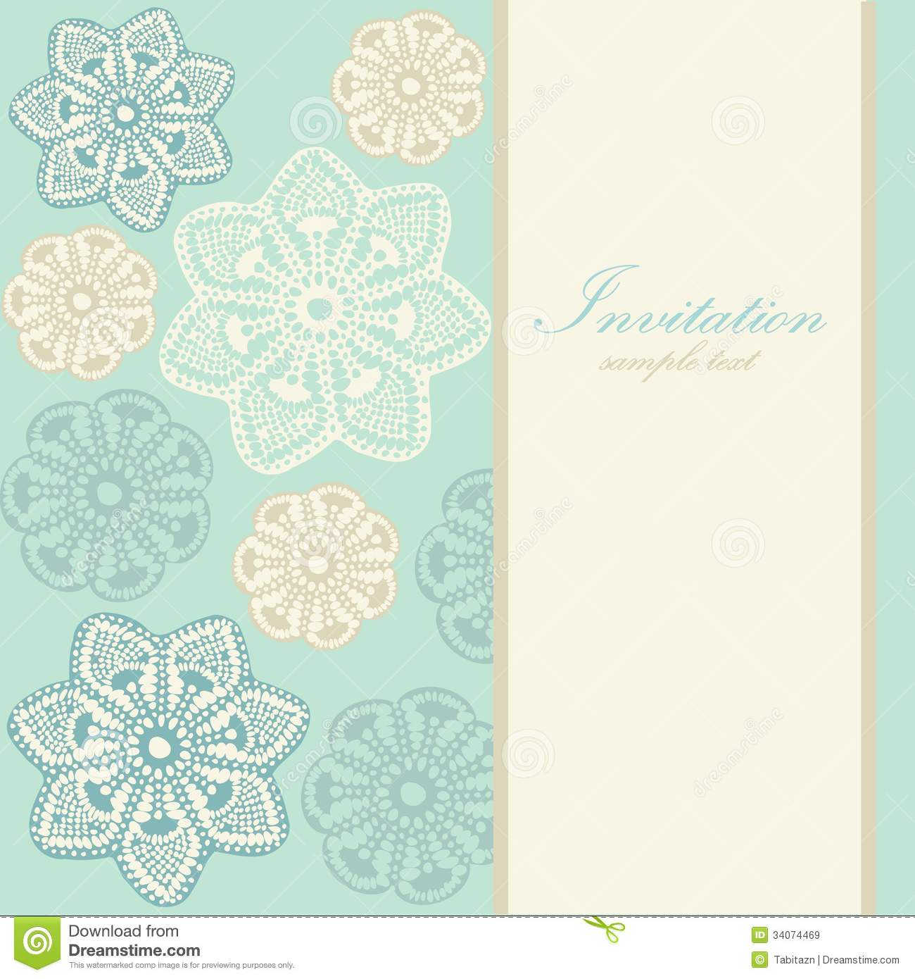Wedding Birthday Card Or Invitation With Abstract Lace