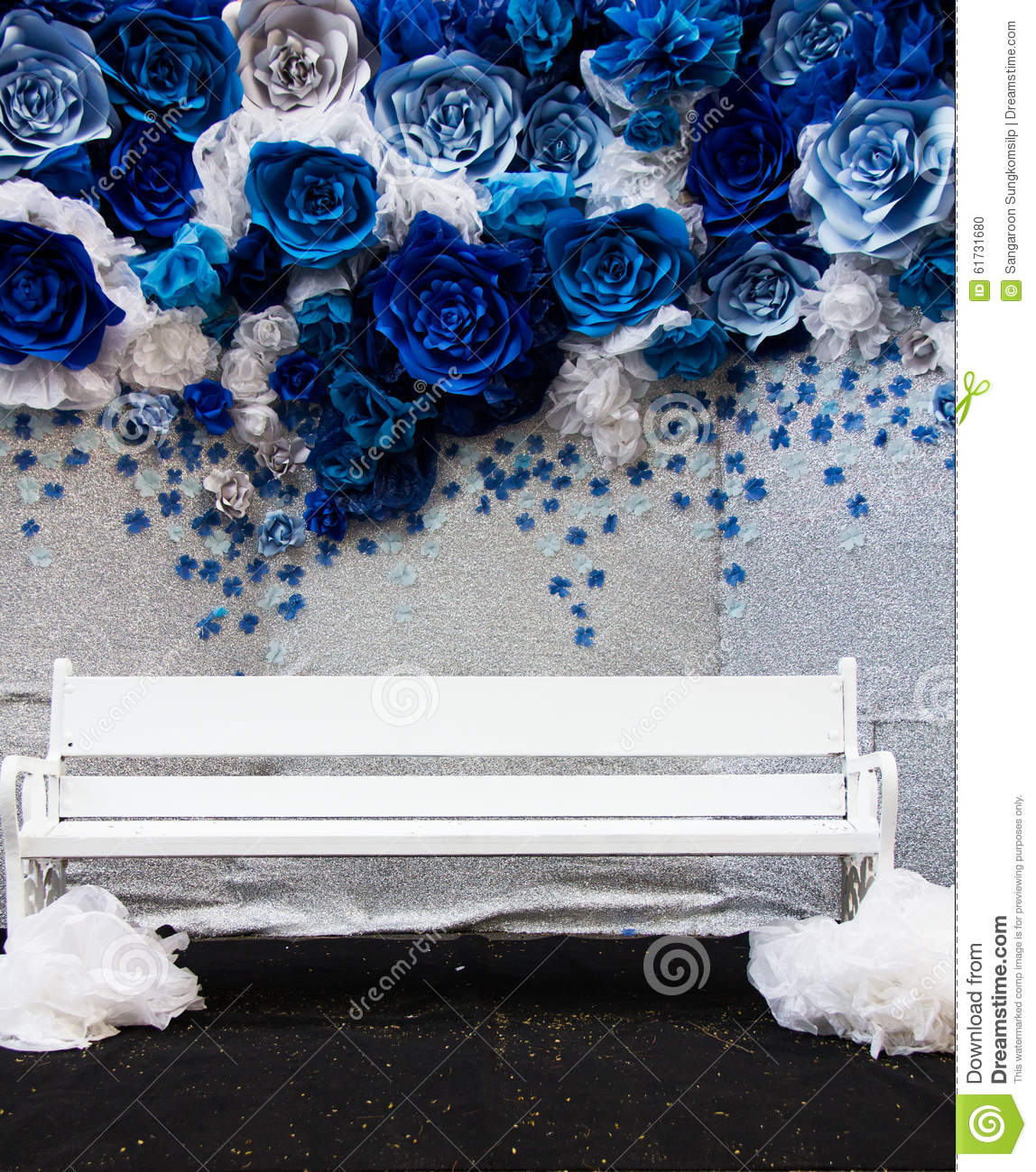 Royalty Free Stock Photo. Download Wedding Blue Floral Backdrop And White  Chair ...