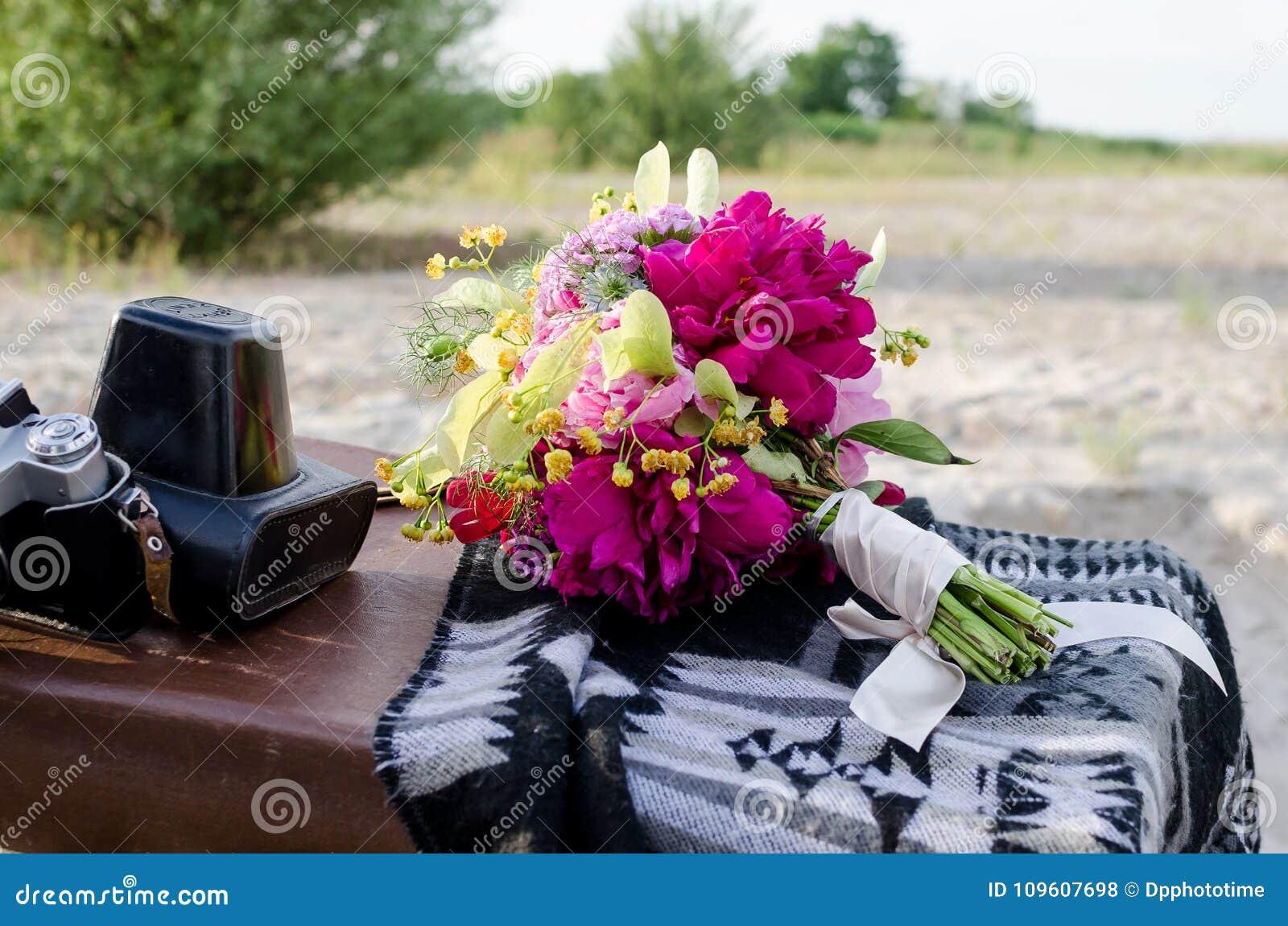 Wedding Boho Bouquet With Pink Magenta And Yellow Flowers Stock Photo Image Of Beauty Boho 109607698