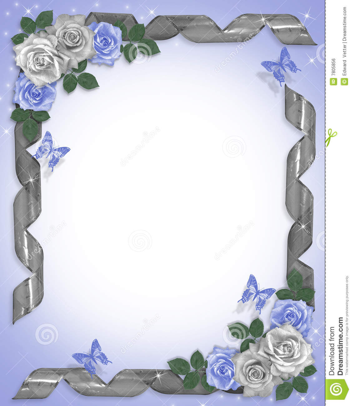 Wedding Border Blue Roses And Ribbons Royalty Free Stock
