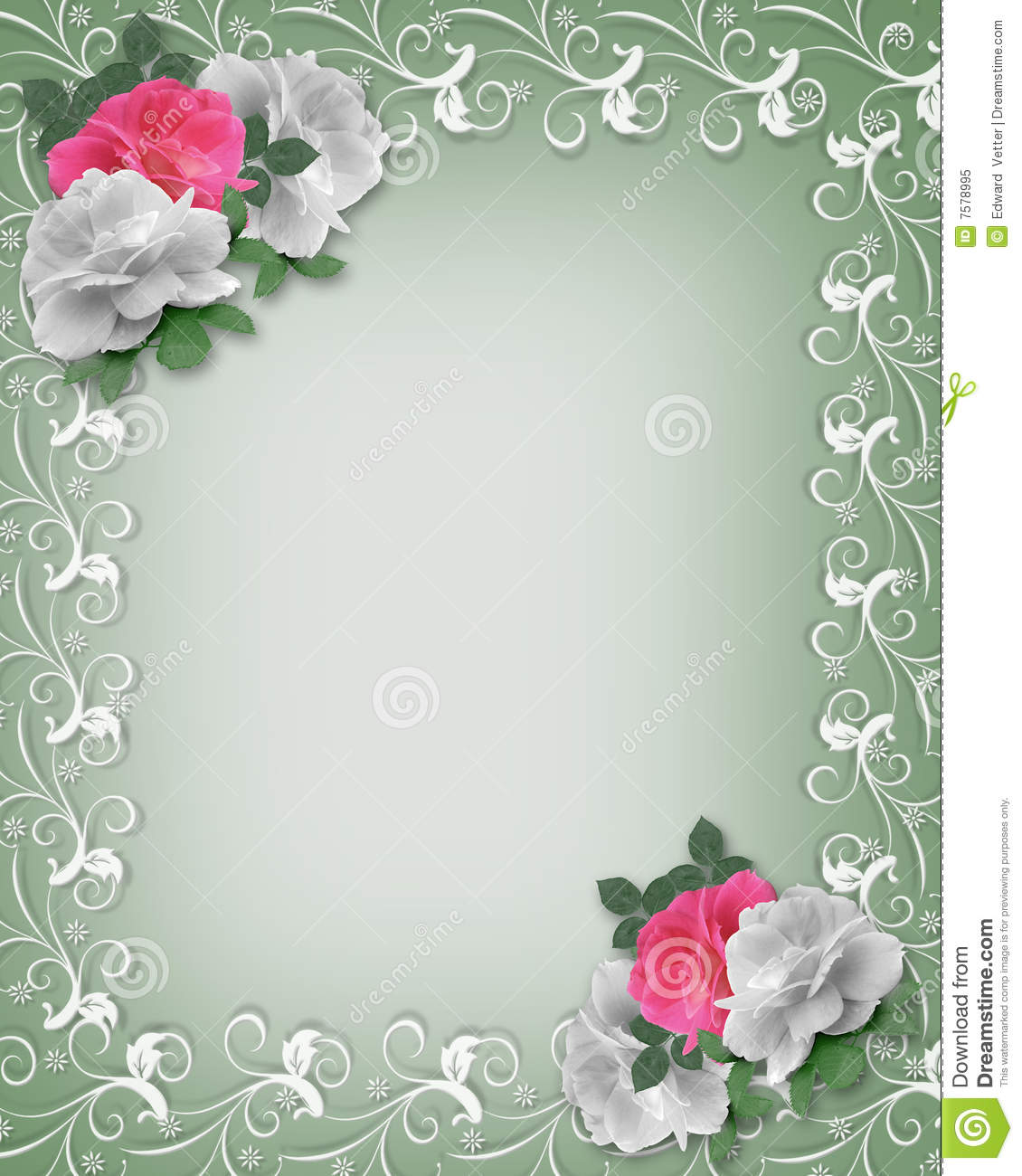 wedding border pink and white roses royalty free stock
